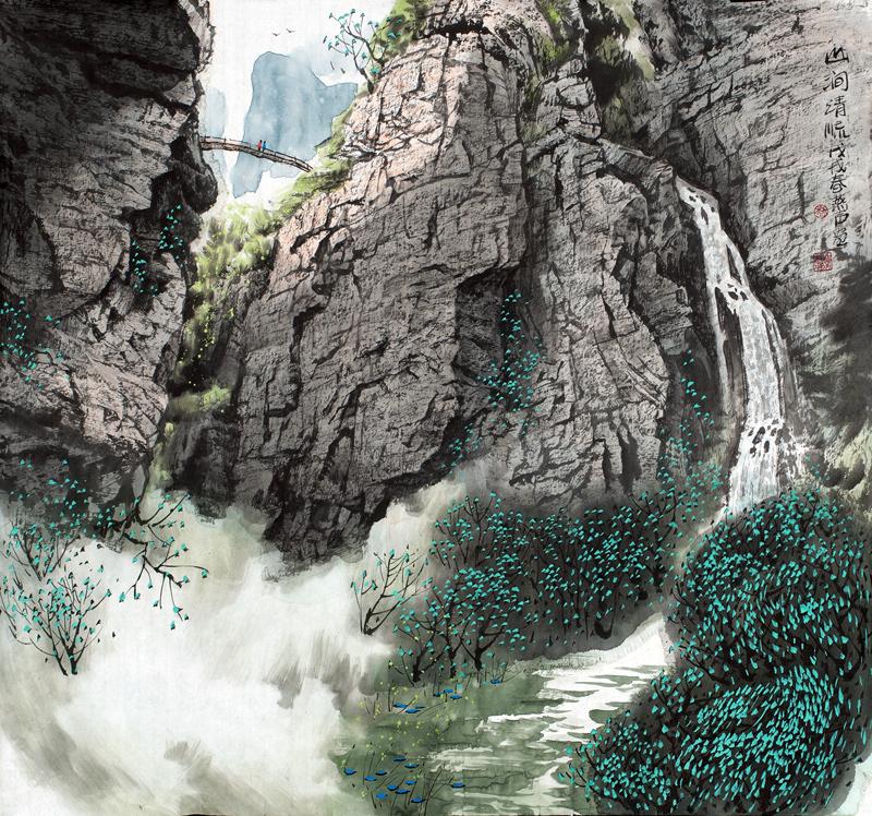 刘燕声山川画作品《山涧清流》